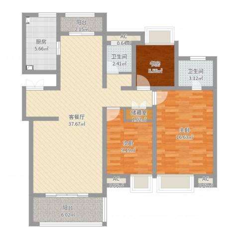 商城凤凰印象3室2厅2卫1厨113.00㎡户型图