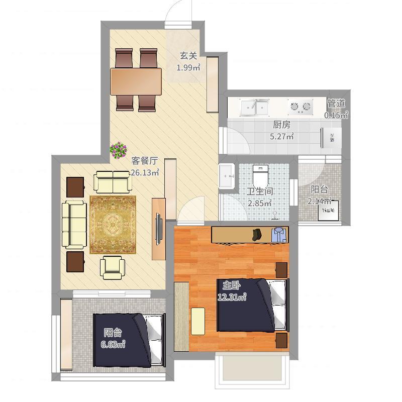 建院未来城77.46㎡C座F户型1室2厅1卫1厨-副本户型图