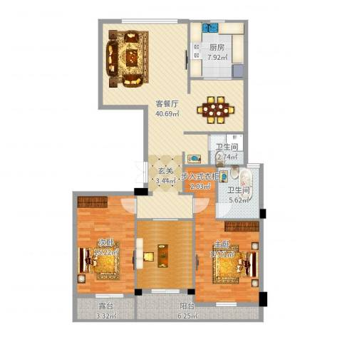 瑞都中央花园2室2厅2卫1厨137.00㎡户型图
