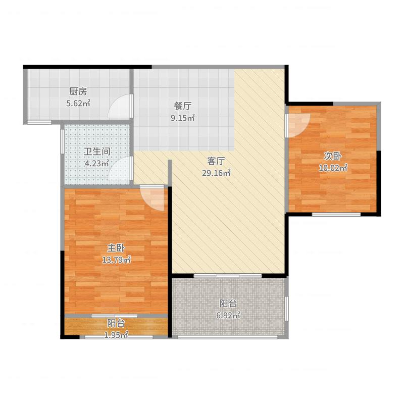汇锦城90.00㎡户型2室1厅1卫1厨-副本户型图