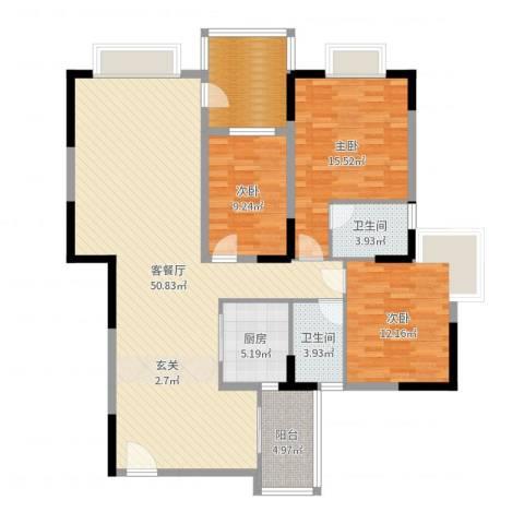 江南丽苑二期3室2厅2卫1厨141.00㎡户型图