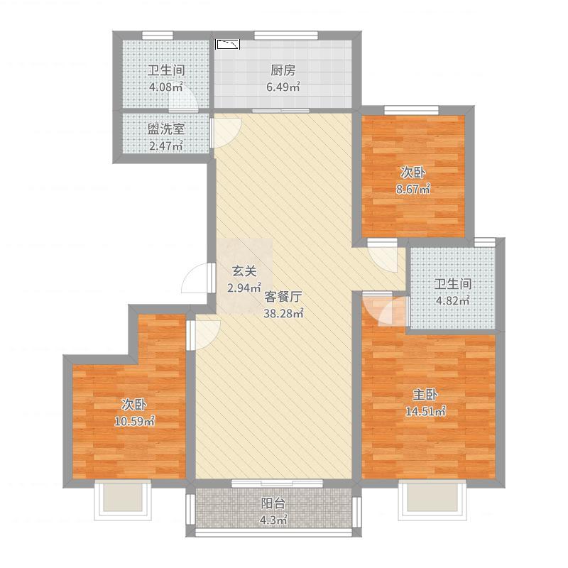 西华名邸133.85㎡C2户型3室2厅2卫1厨户型图