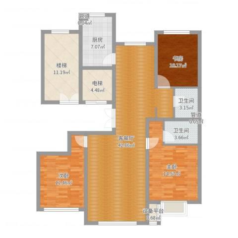 中和文化广场3室2厅2卫1厨138.00㎡户型图