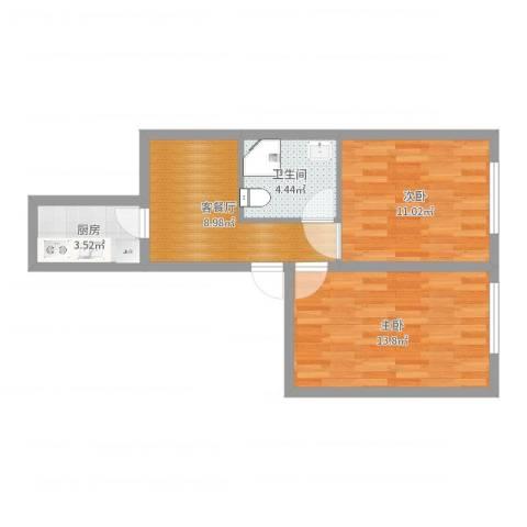 西直门南大街小区2室2厅1卫1厨52.00㎡户型图