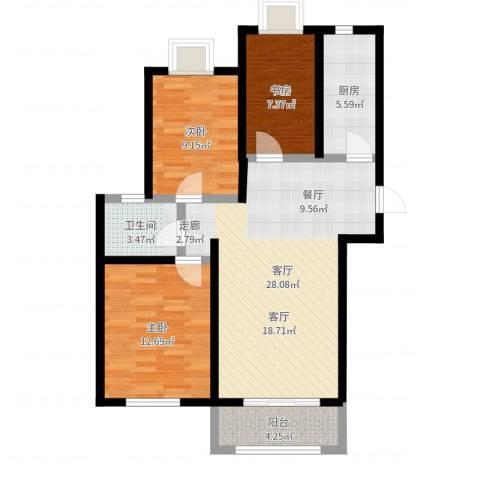 远洋香奈3室1厅1卫1厨88.00㎡户型图