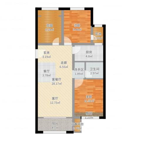 早安北京2室2厅1卫1厨90.00㎡户型图