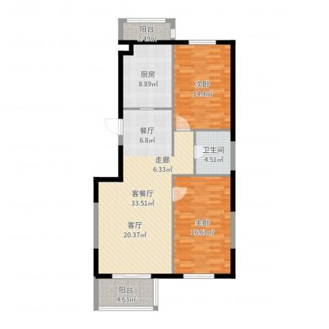大溪地别墅2室2厅1卫1厨106.00㎡户型图