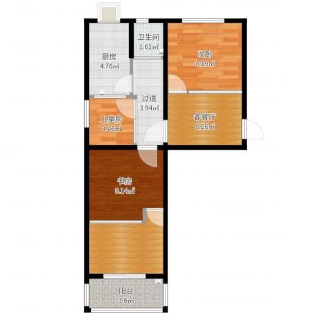 模式口南里3室2厅1卫1厨58.00㎡户型图