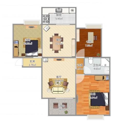 大观园家天下3室2厅1卫1厨99.00㎡户型图
