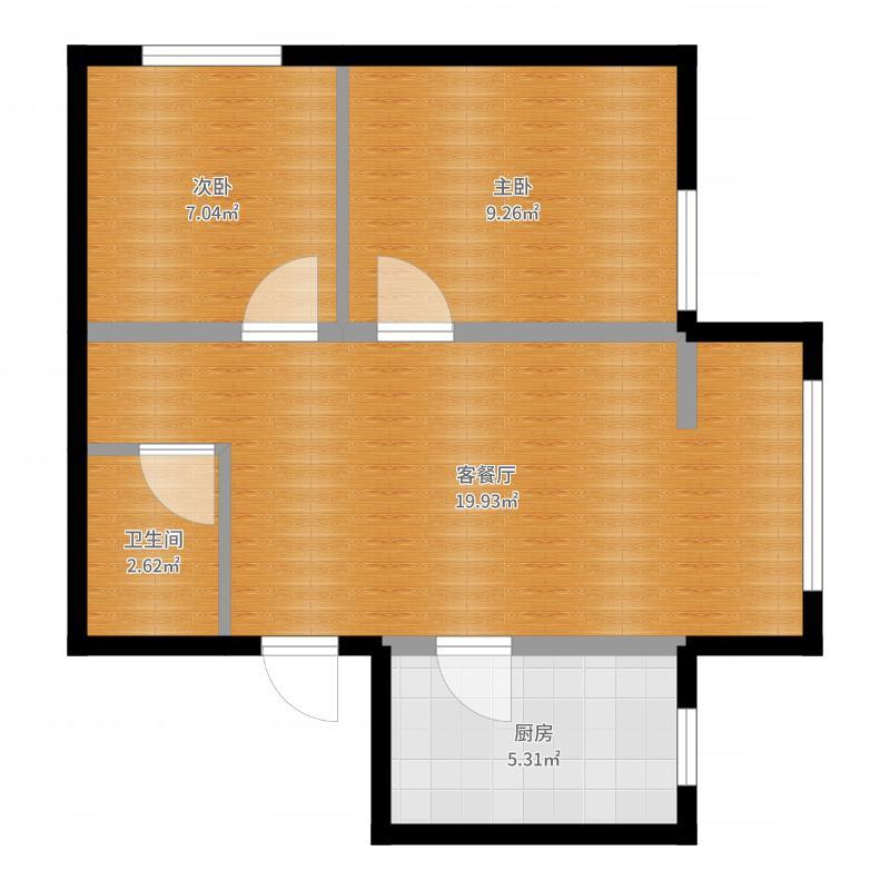 纳帕名门58.88㎡高层G2户型2室2厅1卫户型图