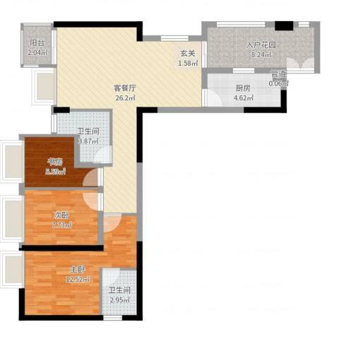 鑫月汇峰3室2厅2卫1厨92.00㎡户型图