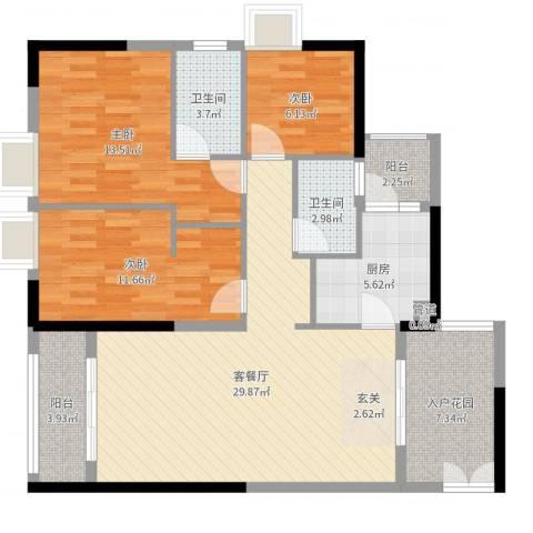 鑫月汇峰3室2厅2卫1厨109.00㎡户型图