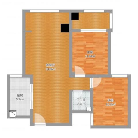 贵都花园2室2厅1卫1厨88.00㎡户型图