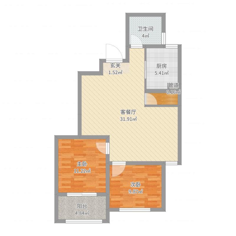 颐高广场85.85㎡2#楼中间户B2户型2室2厅1卫1厨户型图