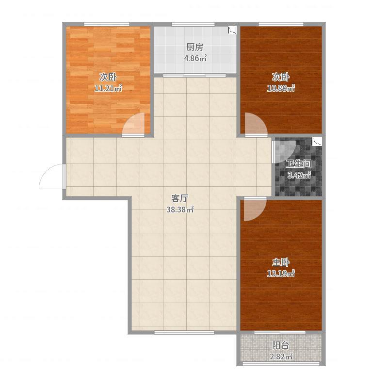 定兴-汇金公寓-京溪南-三室两厅一卫-116.25㎡户型图