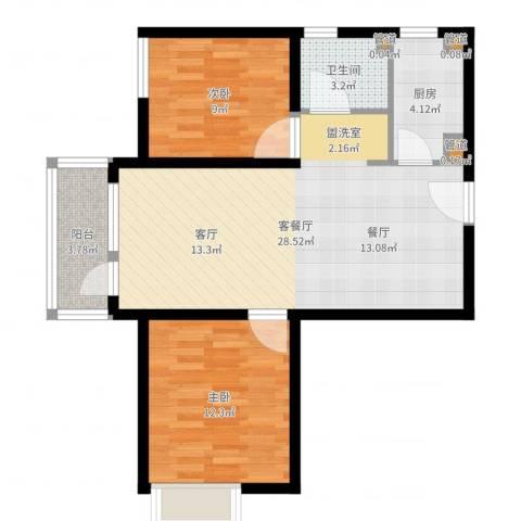 裕祥园2室2厅1卫1厨77.00㎡户型图