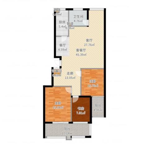 盛唐世家3室2厅1卫1厨132.00㎡户型图