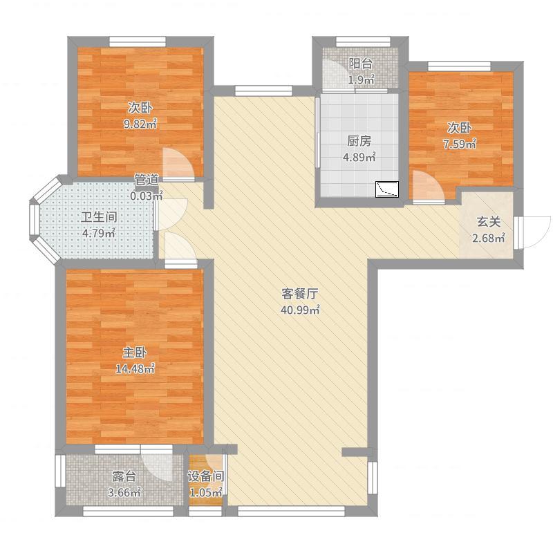 香邑溪谷116.00㎡高层E3户型3室3厅1卫1厨户型图