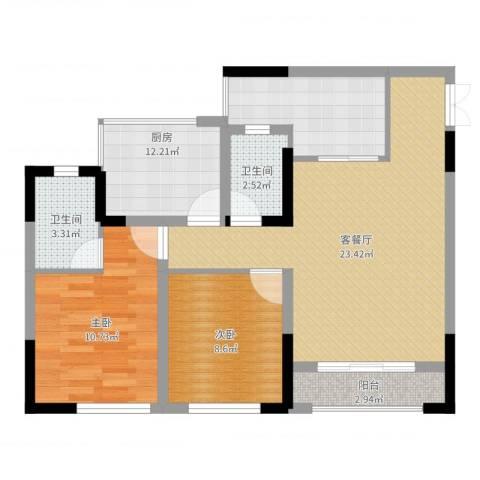 正升青青丽苑2室2厅2卫1厨80.00㎡户型图