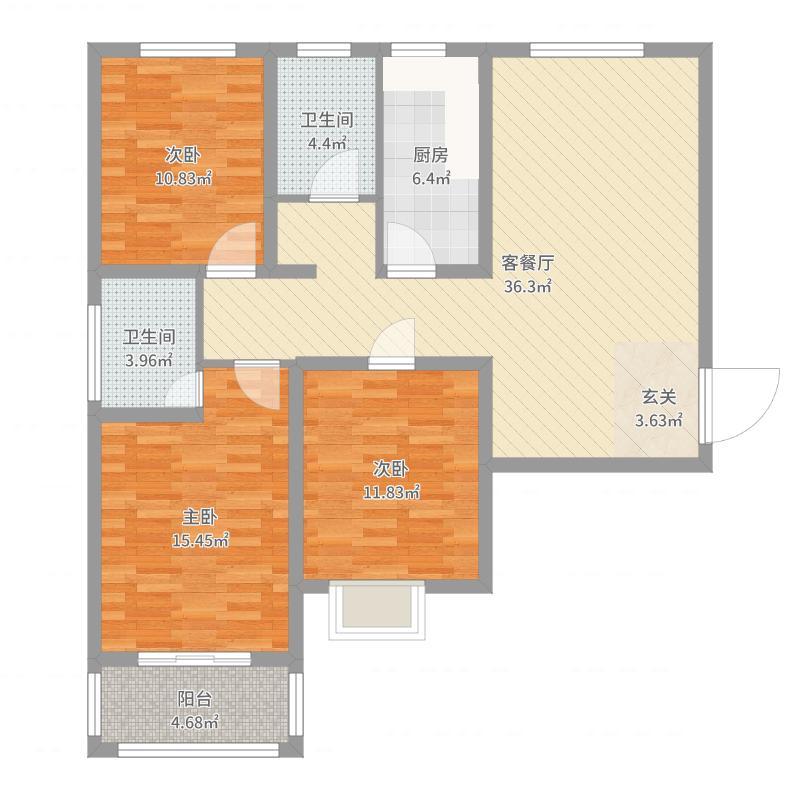 龙源・名郡117.31㎡1#2#A4户型3室3厅2卫1厨-副本户型图