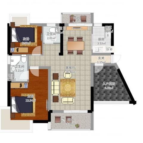 富盈都市华府2室2厅2卫1厨92.00㎡户型图