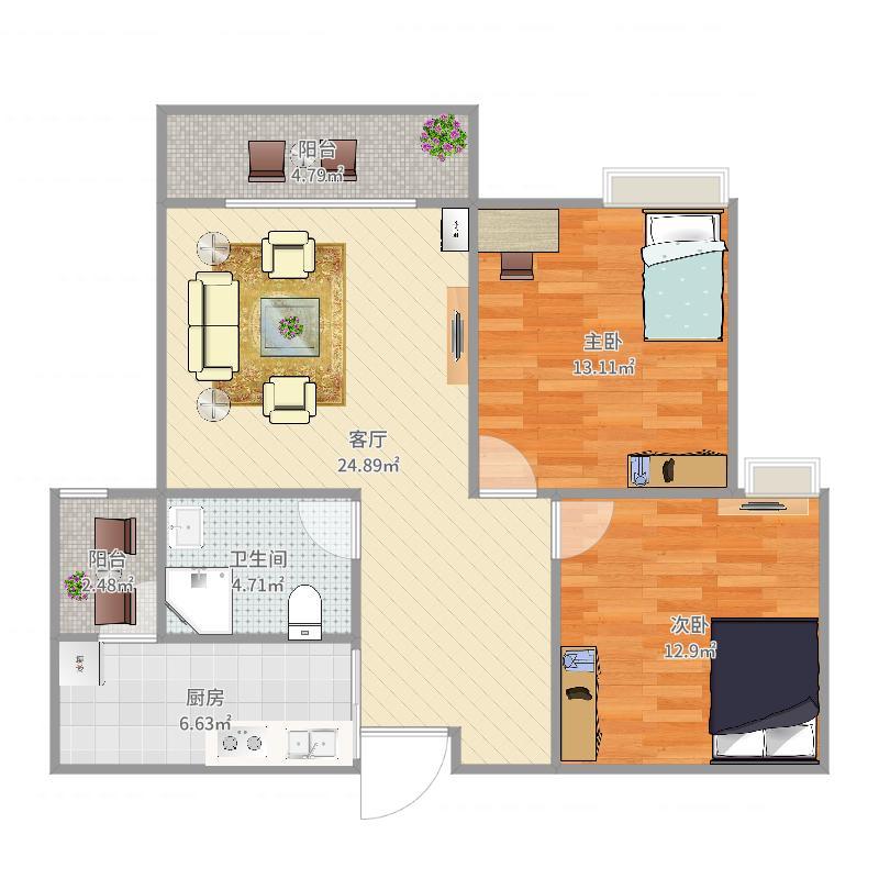 兰桂香都74.42方A2户型二室二厅户型图