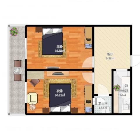 世昌里28-2022室1厅1卫1厨63.00㎡户型图