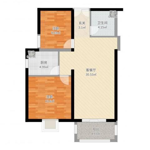 太原奥林匹克花园2室2厅1卫1厨84.00㎡户型图