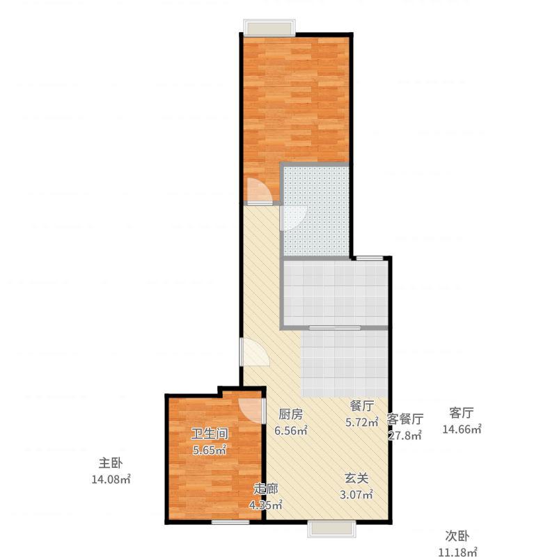 远洋沁山水上品B3户型2室1厅1卫1厨-副本户型图