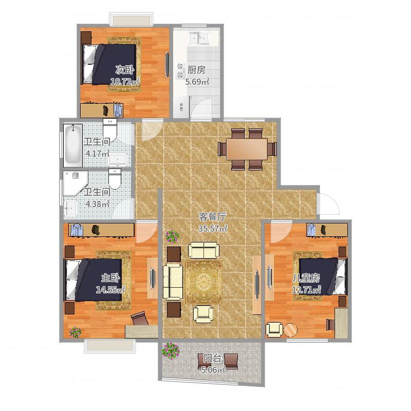 锦馨苑133平三房房型户型图