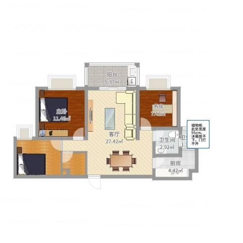 集云文泽府邸2-13F022室1厅2卫1厨89.00㎡户型图