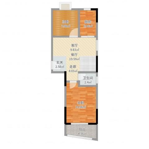 丽嘉花园2室1厅1卫1厨67.00㎡户型图