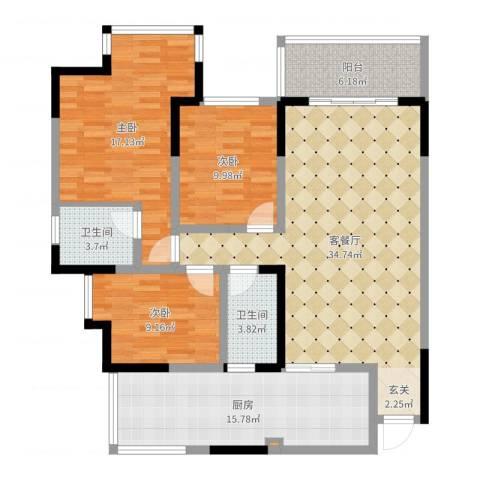 五星华府3室2厅2卫1厨126.00㎡户型图