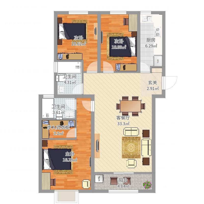 圣域蓝湾3室2厅2卫1厨117.00㎡户型图户型图