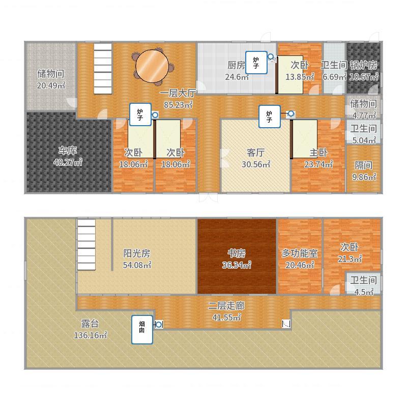 山东农场二层别墅设计图户型图
