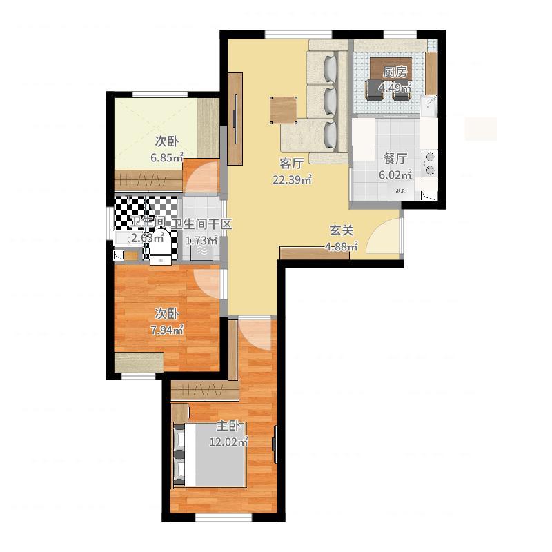 备选1(U型厨房+餐厅正方形餐桌)-V2-副本户型图