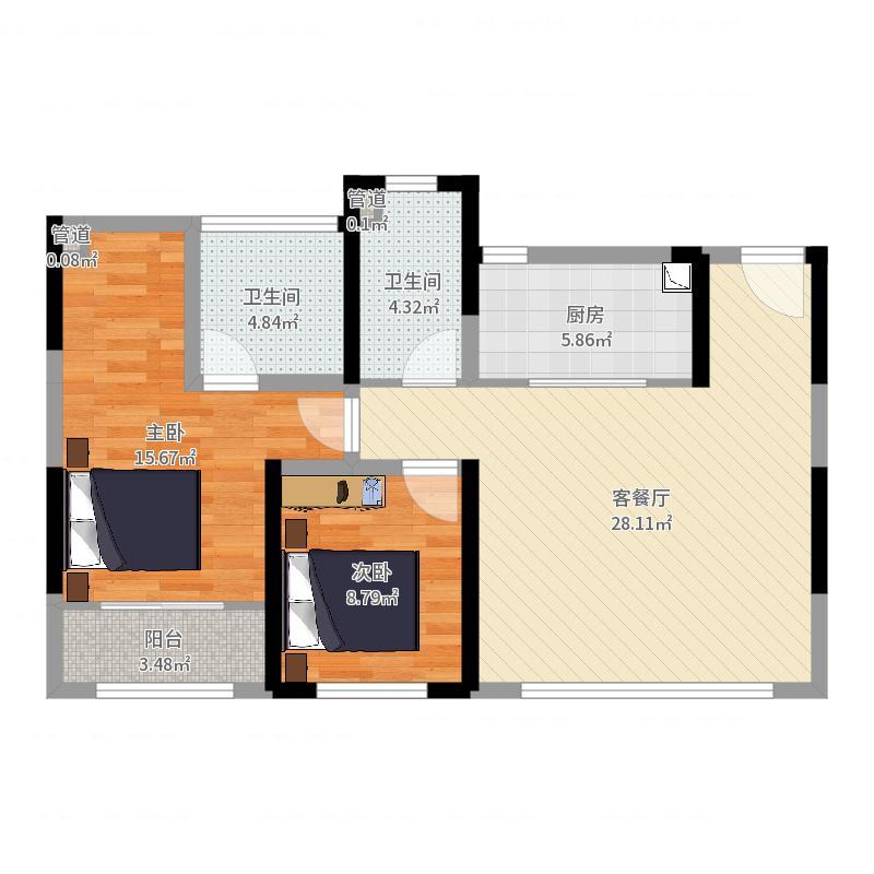 世茂新界87.00㎡B1户型3室3厅2卫1厨户型图