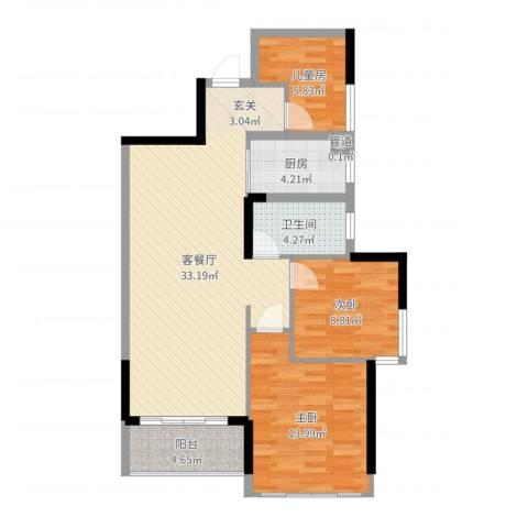 汇乔金色名都3室2厅1卫1厨94.00㎡户型图