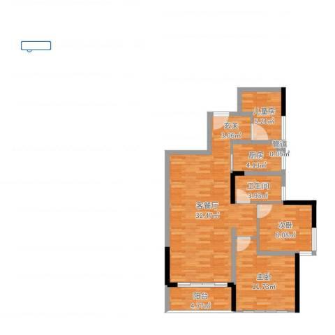 汇乔金色名都3室2厅1卫1厨88.00㎡户型图