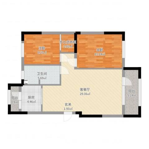 依云溪谷二期2室2厅1卫1厨89.00㎡户型图