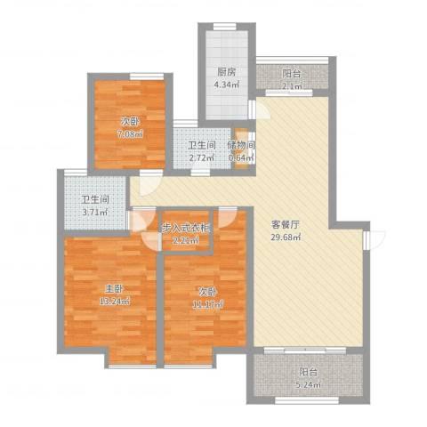 福泰御河湾3室2厅2卫1厨103.00㎡户型图