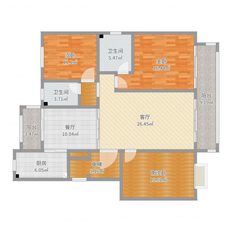 好帝亚集成墙-新城园8号2单东户户型图