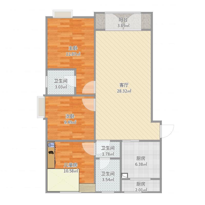 新北小区5-3-702户型图