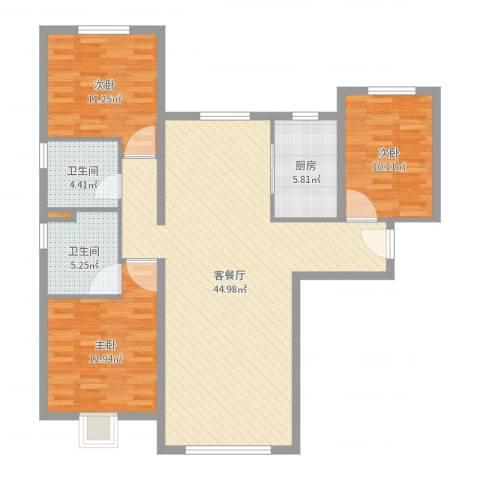 天润・香墅湾1号3室2厅2卫1厨119.00㎡户型图