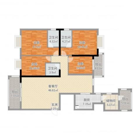 钻石海岸4室2厅3卫1厨180.00㎡户型图