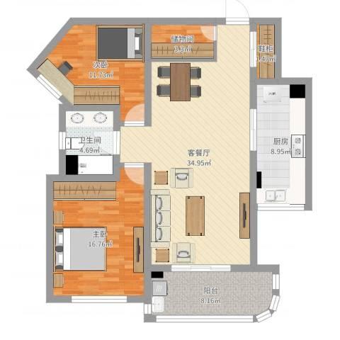 上海莘城2室2厅2卫1厨113.00㎡户型图