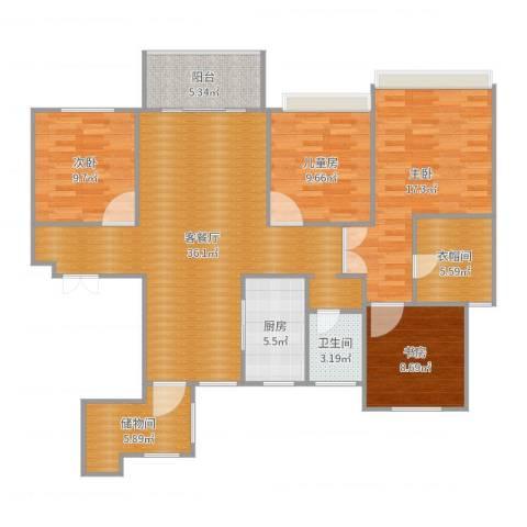 滨江一号4室2厅1卫1厨134.00㎡户型图