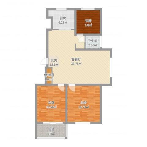 学府壹号3室2厅1卫1厨115.00㎡户型图