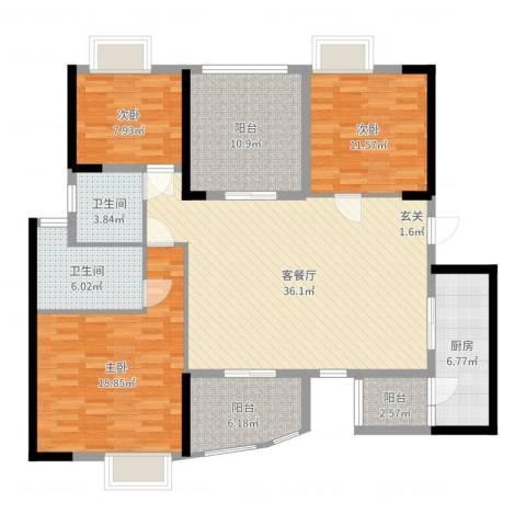 碧桂园凤凰城凤锦苑3室2厅2卫1厨138.00㎡户型图
