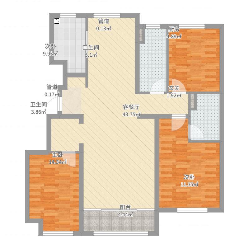绿城沈阳全运村127.00㎡蘭园户型3室3厅2卫1厨-副本户型图